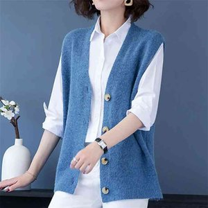 Plus Size 5XL Casual Solid Sweaters Vest Women Korean Style Knitted Sleeveless Cardigans Female Single-Breasted Loose Waistcoat 210522