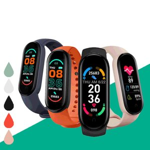 2021 M6 Smart Wristbands Bracelet Watch Fitness Tracker Heart Rate Blood Pressure Monitor Color Screen IP67 Waterproof For Mobile Phone