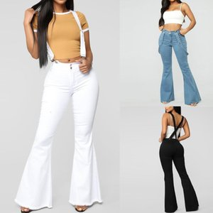 Jeans Rompers White Black Blue 2020 Women High Waist Zipper Button Strap Jeans Pants Sleeveless Jumpsuits Bell-bottom Trousers1