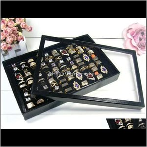 Packaging & Drop Delivery 2021 Black White Ring With Cover 100 Hole For Display Box Rings Earrings Stud Holder Shows Case Jewelry Organizer T