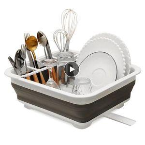 Foldable Dish Kitchen Sinks Storage Holder Drainer Bowl Tableware Plate Portable Drying Rack Home Shelf Dinnerware Organizer