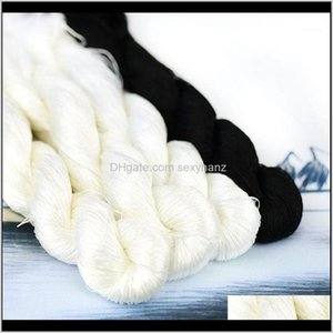 Yarn Clothing Fabric Apparel Drop Delivery 2021 1Pcs 400M   100Percent Silk Thread  Hand Embroidery Embroider Cross Stitch Black White 4 Pure