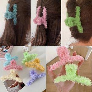 Korean Lace Hair Claw For Women Ladies Makeup Hair Barrettes Hair Accessories Cross Crab Bath Clip Fashion Girl Headwear