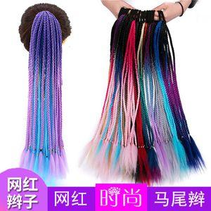 Black Gradual Change Ponytail Ethnic Style Color Pigtail Wig Female Long Hair Bandage Twist Braid