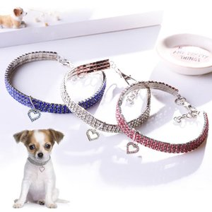 Diamond Inlaid Pet Cat Collar Pets Shiny Crystal Cats Collars Footprints Accessories For Kitten Dog Necklace & Leads