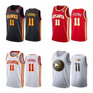 Men's Basketball Jerseys Trae 11 Young 2020 Stitched Vancouver Vintage Black Basketball Jerseys red black 2021 1223