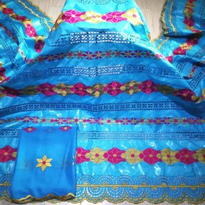 5 Yards Blue African Cotton Jacquard Bazin Riche Getzner Fabric With 2Y Chiffon Scarf Lace Cloth Nigerian Sewing Material YBX4