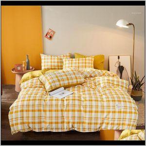 Supplies Textiles Home & Garden Drop Delivery 2021 Japan Style Plaid Bedding Set Cute Nordic Linen Duvet Cover Pillowcase Bed Sheet Sets Twin