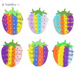 Rainbow Strawberry Sensory Bubbles Fidget Toy Cellphone Straps Silicon Push Simple Dimple Finger Toys Stress Relief Kids Shoulder Bag Change Coin Purse BS20