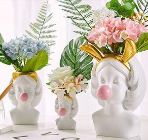 Creative Nordic Смола человеческая головка голоса золотая ваза милая котенка пузырька резинка живущая комната цветочная композиция аксессуары украшения