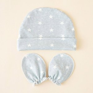 Caps & Hats Stars Printed Baby Gloves Hat Set Soft Cotton Mittens Beanie Nightcap Kit For Infant Born Shower Gifts H9EF
