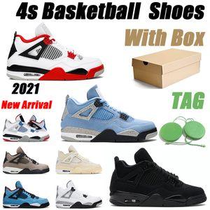 jordan 4 Erkek Basketbol Ayakkabı Jordan 4s Siyah Kedi 2021 Üniversitesi Mavi Yangın Kırmızı Beyaz Çimento Serin Gri Erkekler Eğitmen Spor Sneakers