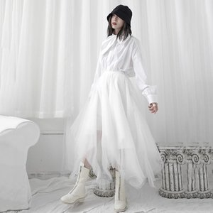 Skirts Irregular Pleated Skirt Fashion Women Elastic Waist Mesh 2021 Summer Small Fresh Casual Style Loose T064
