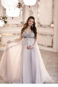 Beaded Sequin Maternity Prom Dresses Baby Shower Evening Dresses with Tulle Skirt A-line Sleeveless V-neck Soft Tulle Evening Party Gown