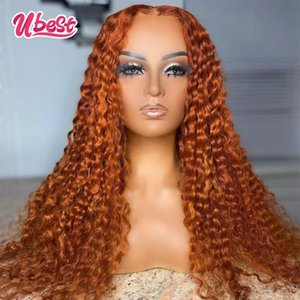 Lace Wigs U Orange Color Water Wave Front Wig Peruvian Virgin Human Hair Colored Frontal Whole Sale Price For Women