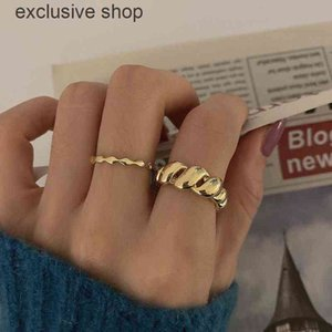 Gold Color Twisted Rope Croissants Threads Geometric Rings For Women 925 Sterling Silver Minimalist Vintage Jewelry
