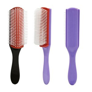 Peinera de peinado 9 filas Estilismo Cepillo recto rizado Dentangling Scalp Massage Cepillo para el cabello para el hogar Pinceles