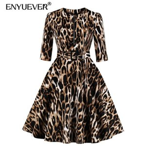Enyuever Sexy Leopard Print Dress Women Clothing 3 4 Sleeve Cotton Belt Robe Pin Up Swing Retro Vintage Dresses With Pockets Casual