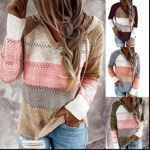 Original Womens Sweaters Cross Border Autumn and Winter Contrasting Color Stitching Hooded Long Sleeve Knitwear Women