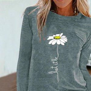 Women Womens T Shirts Flower Lady Fashion Long Sleeve Clothes Summer Shirt Top Tee O Neck Female Ladies