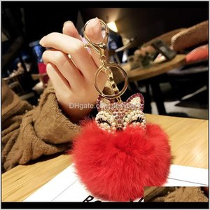 Keychains Lovely Crystal Pearl Head Plush Key Rings Imitation Rabbit Fur Fluffy Ball Alloy Car Keyring Chain Bag Mobile Phone Charm 97 Iocc5