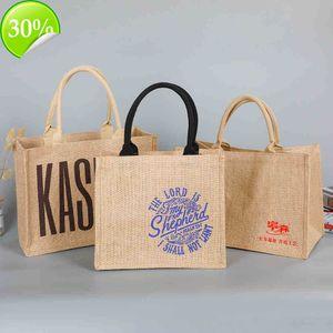 Coarse jute retro bag custom-made plastic coated portable cotton and hemp shopping