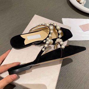 Элегантные бренды амая платье обувь тапочки квартиры женские сандалии жемчуга ремешок скользят на слайд роскошный квадратный носок ходьба вечеринка свадьба