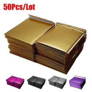 50 pcs / 롯의 다른 사양 금 도금 종이 버블 봉투 가방 메일러 패딩 배송 봉투 버블 우편 봉투