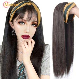 MEIFAN Uzun Sağ / Kıvırcık Lolita U-Part Yarım Kafa Peruk Saç Bantlı İğneler Görünmez Doğal Sentetik Klip