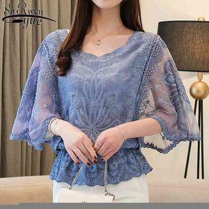 Moda Kadın Bluzlar Yaz Yeni Şifon Bluz Pamuk Kenar Dantel Bluzlar Gömlek Kelebek Flowe Kadın Gömlek Tops 4073 50 201202