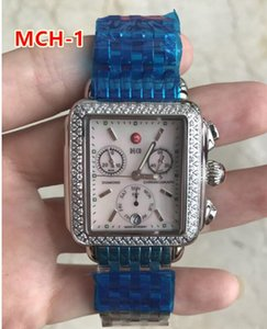 33mm Michele Signature Deco Diamond Chronograph Mother of Pearl Ladies quartz Watch 33mm