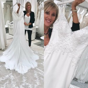 2020 Mermaid Elegant Wedding Dresses Lace Sequins Applique Wedding Dresses Spaghetti Sweep Train Satin Vestidos De Novia