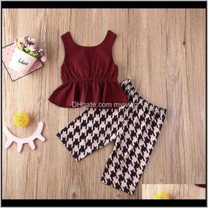 Clothing Baby, Kids Maternity Drop Delivery 2021 & Childrens 2-6Years Kid Baby Girls Clothes Sets Bowknot Sleeveless Ruffles Vest+Plaid Pants