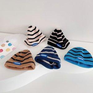 M369 Autumn Winter Baby Kids Knitted Hat Stripe Beanies Boys Girls Children Knit Skull Cap Warm Hats
