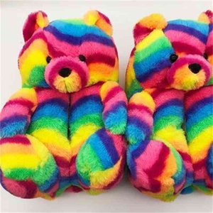 Plush Teddy Bear House Brown Home Indoor Soft Anti-slip Faux Fur Cute Fluffy Pink Slippers Women Winter Warm Shoe RO4L