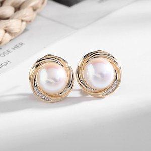 Brand design women stud earrings luxury 18k gold plated simple fashion shiny zircon pearl s925 silver pin ear clip jewelry