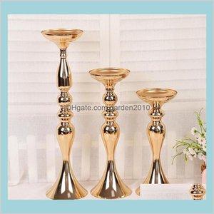 Candle Holders Home Décor & Garden Wedding Holder 32 38 50Cm Silver Gold Romantic Standing Candlestick Flower Stands Silver Candelabra
