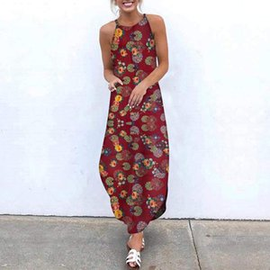 Butterfly Printing Long Dresses For Women Summer O-neck Cotton Linen Sleeveless Plus Size Maxi Robe Longue Woman Dress Casual