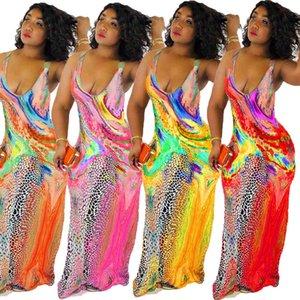 Colorful Floral Print Maxi Dress Women V Neck Slip Vestido Summer 2020 New Sleeveless Long Dress Plus Size 3XL Party Dress