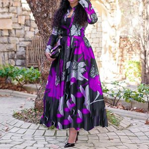 Purple red green blue Sexy Vneck Floral Printed Bohemian Woman Dress Long Sleeve A-line Maxi Robe Boheme Chic Beach Frocks Casual Dresses