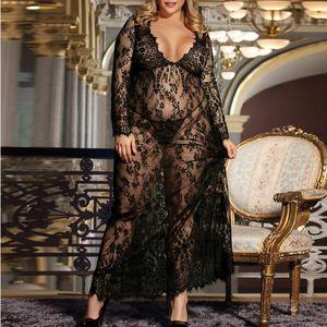 Sexy Fashion Women Negligee Nightie Lingerie Lace Beautiful Black Long Skirt Lady Nightdress Erotic 2021 Bras Sets