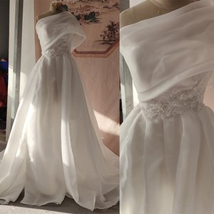 Mirusponsawedding Design Bridal Gowns White Wedding Dresses A-Line Organza Satin Beaded Lace Appliques Leg Slit Bride Dress