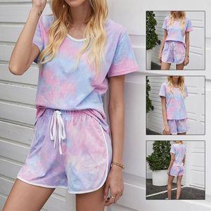 Women Summer 2Pcs Outfits Gradient Tie-Dye Short Sleeve Drawstring Tracksuit Girls Cloth