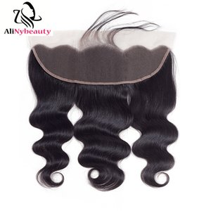 Alinybeauty Top Grade Pre Plucked Transparent Lace Frontal Raw Brazilian Cuticle Aligned Human Hair Body Wave Frontal