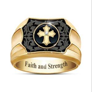 кольцо кольца орнамент европейская американская перекрестная вера сила мужчин и женщин