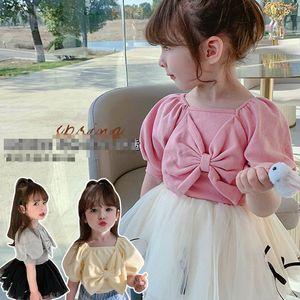 Girls T-shirts Children Shirts Kids Wear Summer Cotton Short Sleeve Bowknot Tops Princess 2-6Y B5029