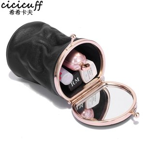 Makeup Case Small Portable Genuine Leather Lipstick Storage Pouch with Mirror Perfume Jewelry Organizer Pocket Mini Cosmetic Bag 210402