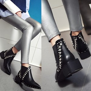 Autumn Winter Warm Women Ankle boots Square high heels Leather Boots Pointed Martin boots