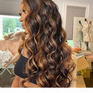 Ombre Highlight Wig Brown Honey Blonde well balayaged wavy HD 150% Lace Front Human Hair Wigs body wave Full 360 Lace Frontal Wig