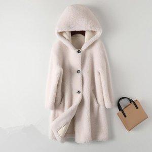 Women's Fur & Faux Women Winter Lamb Coat Female Korean Hooded Granule Sheep Shearing Jacket Loose Mid-Length Warm Outerwear Ladies H1693